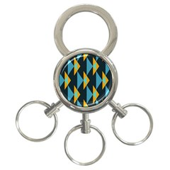 Yellow Blue Triangles Pattern                                                        			3 Ring Key Chain by LalyLauraFLM