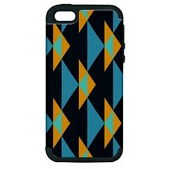 Yellow Blue Triangles Pattern                                                       			apple Iphone 5 Hardshell Case (pc+silicone) by LalyLauraFLM