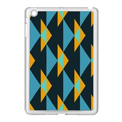 Yellow Blue Triangles Pattern                                                       			apple Ipad Mini Case (white) by LalyLauraFLM