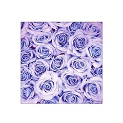 Electric White And Blue Roses Satin Bandana Scarf by Brittlevirginclothing