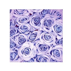 Electric White And Blue Roses Small Satin Scarf (square) by Brittlevirginclothing