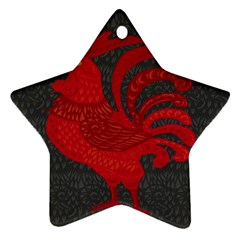 Red Fire Chicken Year Ornament (star) by Valentinaart