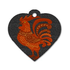 Chicken Year Dog Tag Heart (two Sides) by Valentinaart