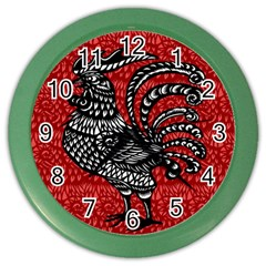 Year Of The Rooster Color Wall Clocks by Valentinaart