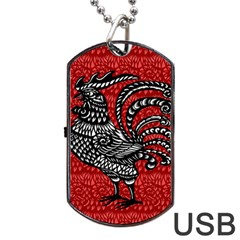 Year Of The Rooster Dog Tag Usb Flash (one Side) by Valentinaart