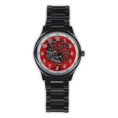Year Of The Rooster Stainless Steel Round Watch by Valentinaart