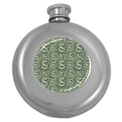 Money Symbol Ornament Round Hip Flask (5 Oz) by dflcprintsclothing