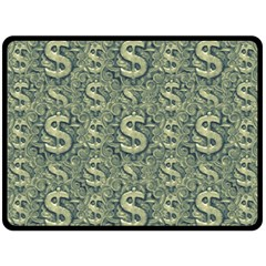 Money Symbol Ornament Fleece Blanket (large)  by dflcprintsclothing