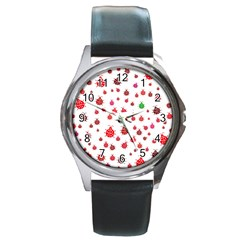 Beetle Animals Red Green Fly Round Metal Watch by Amaryn4rt
