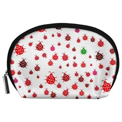 Beetle Animals Red Green Fly Accessory Pouches (large)