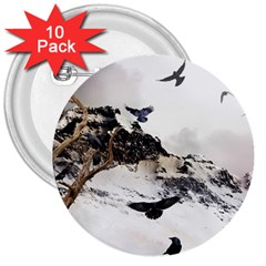 Birds Crows Black Ravens Wing 3  Buttons (10 Pack)  by Amaryn4rt