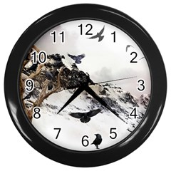 Birds Crows Black Ravens Wing Wall Clocks (black) by Amaryn4rt