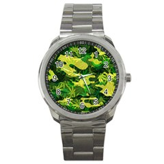 Marijuana Camouflage Cannabis Drug Sport Metal Watch by Amaryn4rt
