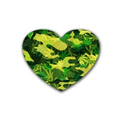 Marijuana Camouflage Cannabis Drug Heart Coaster (4 Pack)  by Amaryn4rt