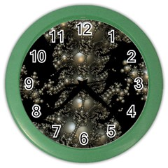 Fractal Math Geometry Backdrop Color Wall Clocks by Amaryn4rt