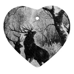 Stag Deer Forest Winter Christmas Ornament (heart) by Amaryn4rt