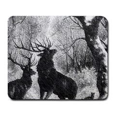 Stag Deer Forest Winter Christmas Large Mousepads by Amaryn4rt