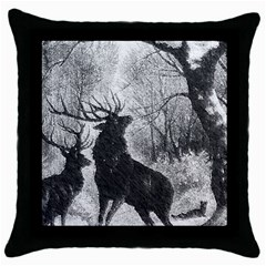 Stag Deer Forest Winter Christmas Throw Pillow Case (black) by Amaryn4rt