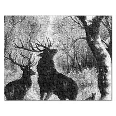 Stag Deer Forest Winter Christmas Rectangular Jigsaw Puzzl by Amaryn4rt