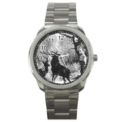 Stag Deer Forest Winter Christmas Sport Metal Watch by Amaryn4rt