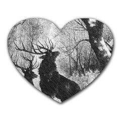 Stag Deer Forest Winter Christmas Heart Mousepads by Amaryn4rt