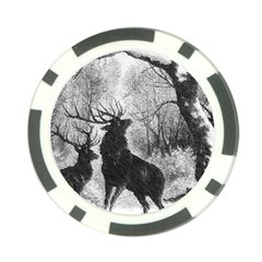 Stag Deer Forest Winter Christmas Poker Chip Card Guard