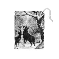 Stag Deer Forest Winter Christmas Drawstring Pouches (medium)  by Amaryn4rt