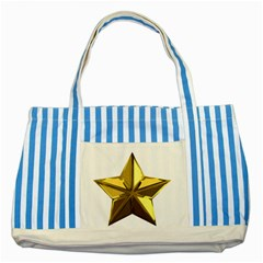 Stars Gold Color Transparency Striped Blue Tote Bag by Amaryn4rt