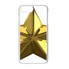 Stars Gold Color Transparency Apple Iphone 7 Plus White Seamless Case