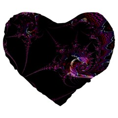 Fantasy Fractal 124 A Large 19  Premium Heart Shape Cushions by Fractalworld