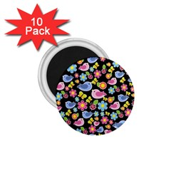 Spring Pattern   Black 1 75  Magnets (10 Pack)  by Valentinaart