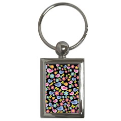 Spring Pattern   Black Key Chains (rectangle)  by Valentinaart