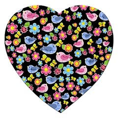Spring Pattern   Black Jigsaw Puzzle (heart) by Valentinaart