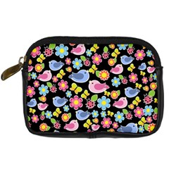 Spring Pattern   Black Digital Camera Cases