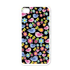 Spring Pattern   Black Apple Iphone 4 Case (white)