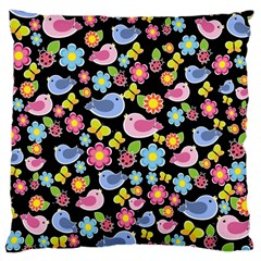 Spring Pattern   Black Large Cushion Case (two Sides)