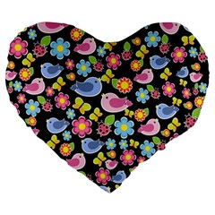Spring Pattern   Black Large 19  Premium Heart Shape Cushions by Valentinaart