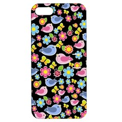 Spring Pattern   Black Apple Iphone 5 Hardshell Case With Stand by Valentinaart