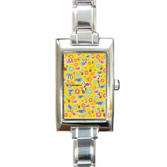Spring Pattern   Yellow Rectangle Italian Charm Watch by Valentinaart
