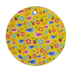 Spring Pattern   Yellow Ornament (round) by Valentinaart