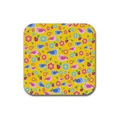 Spring Pattern   Yellow Rubber Coaster (square)  by Valentinaart