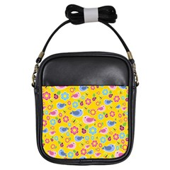 Spring Pattern   Yellow Girls Sling Bags