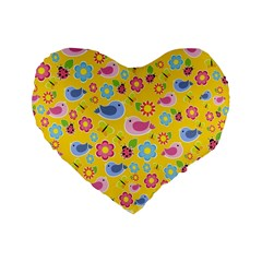 Spring Pattern   Yellow Standard 16  Premium Heart Shape Cushions by Valentinaart