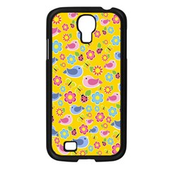 Spring Pattern - Yellow Samsung Galaxy S4 I9500/ I9505 Case (black) by Valentinaart