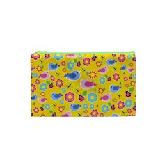Spring Pattern   Yellow Cosmetic Bag (xs) by Valentinaart