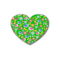 Spring Pattern   Green Rubber Coaster (heart)  by Valentinaart