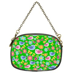 Spring Pattern   Green Chain Purses (one Side)  by Valentinaart