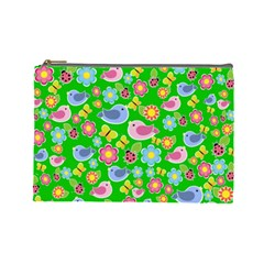 Spring Pattern   Green Cosmetic Bag (large)  by Valentinaart