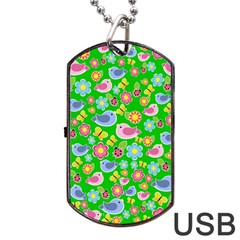 Spring Pattern   Green Dog Tag Usb Flash (two Sides)