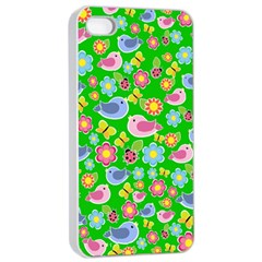 Spring Pattern   Green Apple Iphone 4/4s Seamless Case (white) by Valentinaart